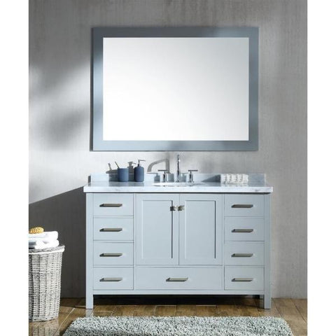 "Ariel Cambridge 55"" Grey Modern Oval Sink Bathroom Vanity A055S-GRY"
