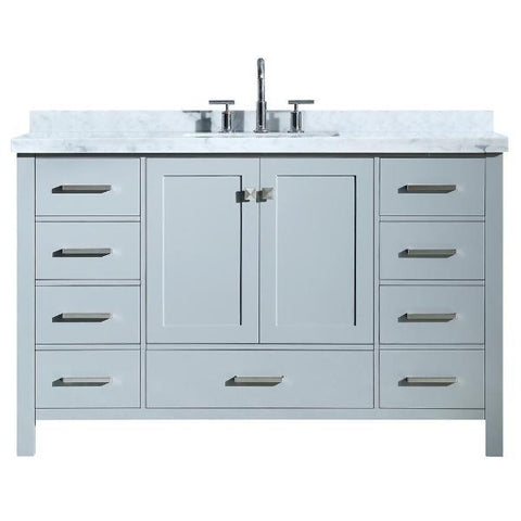 "Ariel Cambridge 55"" Grey Modern Rectangle Sink Bathroom Vanity A055S-CWR-GRY"