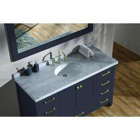 "Ariel Cambridge 55"" Midnight Blue Modern Oval Sink Bathroom Vanity A055S-MNB"