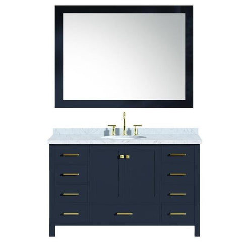 "Ariel Cambridge 55"" Midnight Blue Modern Oval Sink Bathroom Vanity A055S-MNB A055S-MNB"