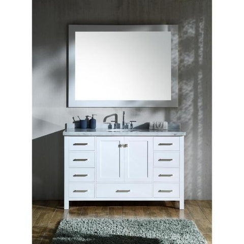 "Ariel Cambridge 55"" White Modern Oval Sink Bathroom Vanity A055S-WHT"