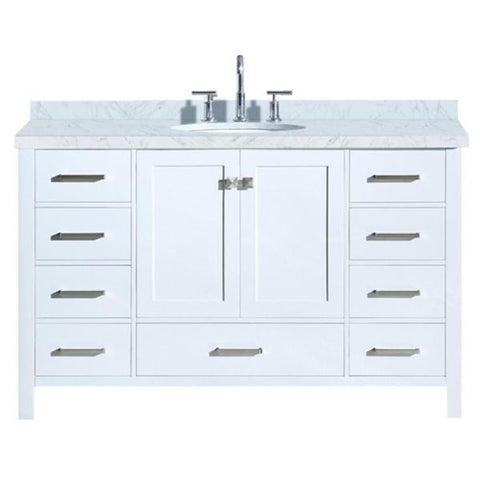 "Ariel Cambridge 55"" White Modern Oval Sink Bathroom Vanity A055S-WHT A055S-VO-WHT"