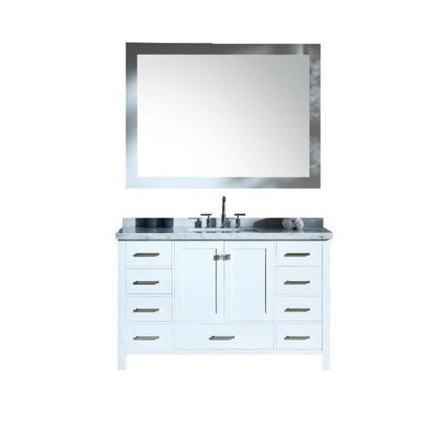 "Ariel Cambridge 55"" White Modern Rectangle Sink Bathroom Vanity A055S-CWR-WHT"