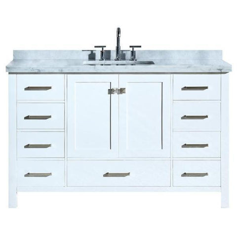 "Ariel Cambridge 55"" White Modern Rectangle Sink Bathroom Vanity A055S-CWR-WHT A055SCWRVOWHT"