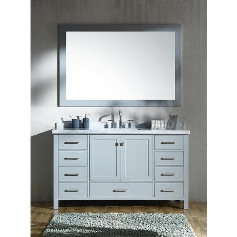 "Image of Ariel Cambridge 61"" Grey Modern Rectangle Sink Bathroom Vanity A061S-CWR-GRY"