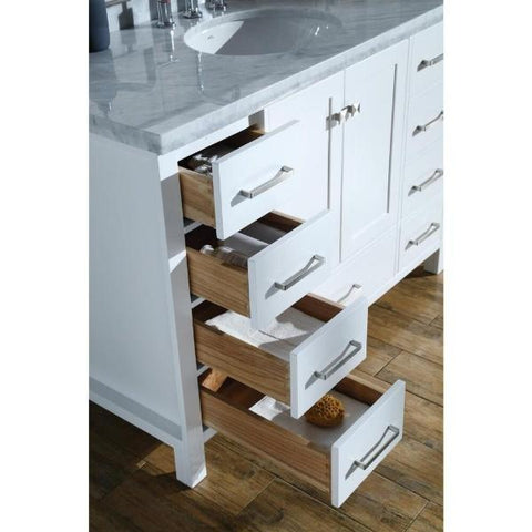 "Ariel Cambridge 61"" White Modern Rectangle Sink Bathroom Vanity A061S-CWR-WHT"