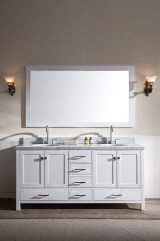 "Ariel Cambridge 73"" Double Sink Vanity Set in White A073D-WHT"