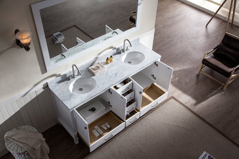 "Image of Ariel Cambridge 73"" Double Sink Vanity Set in White A073D-WHT"