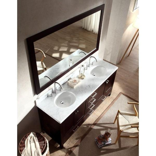 "Ariel Cambridge 73"" Espresso Modern Double Oval Sink Vanity A073D-ESP"