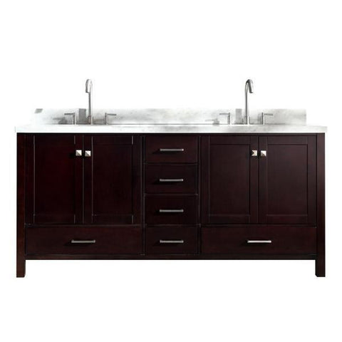 "Image of Ariel Cambridge 73"" Espresso Modern Double Oval Sink Vanity A073D-ESP"