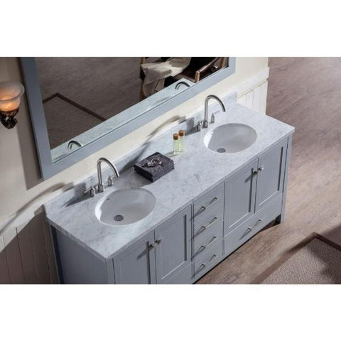 "Image of Ariel Cambridge 73"" Grey Modern Double Oval Sink Vanity A073D-GRY"