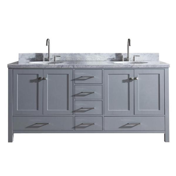 "Ariel Cambridge 73"" Grey Modern Double Oval Sink Vanity A073D-GRY"