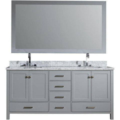 "Image of Ariel Cambridge 73"" Grey Modern Double Rectangle Sink Vanity A073D-CWR-GRY"