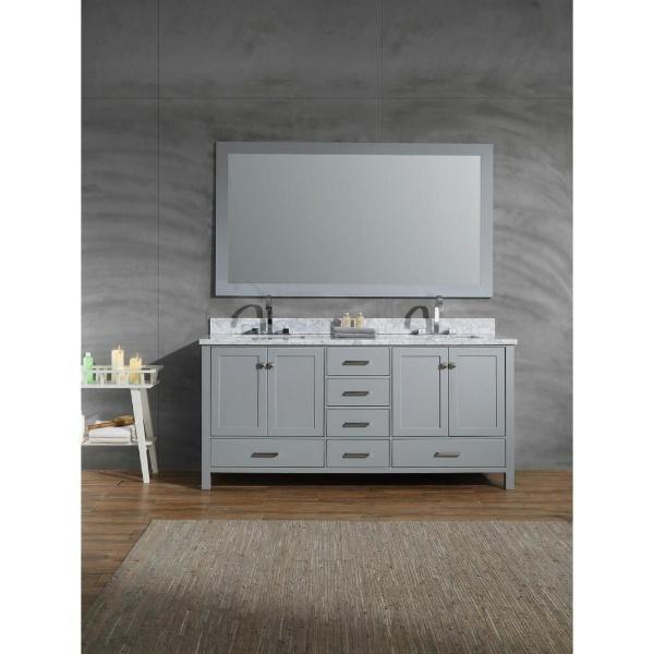 "Ariel Cambridge 73"" Grey Modern Double Rectangle Sink Vanity A073D-CWR-GRY"