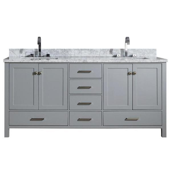 "Ariel Cambridge 73"" Grey Modern Double Rectangle Sink Vanity A073D-CWR-GRY A073DCWRVOGRY"