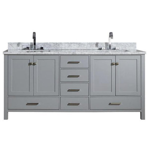 "Image of Ariel Cambridge 73"" Grey Modern Double Rectangle Sink Vanity A073D-CWR-GRY A073DCWRVOGRY"