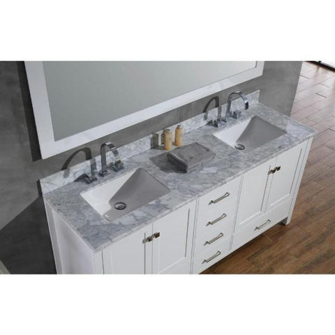 "Image of Ariel Cambridge 73"" White Modern Double Rectangle Sink Vanity A073D-CWR-WHT"