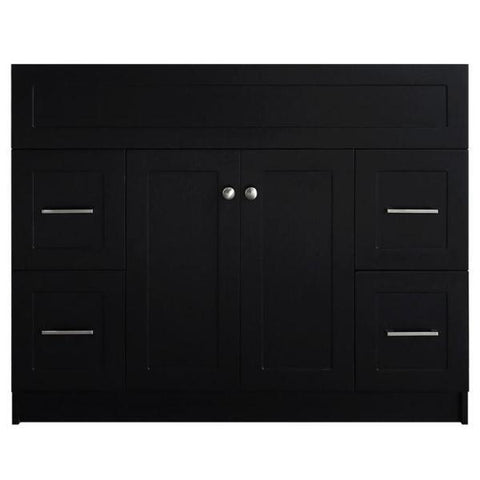 "Ariel Hamlet 42"" Black Modern Single Sink Bathroom Vanity Base Cabinet F043S-BC-BLK E049S-WHT"