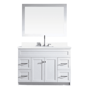 "Ariel Hamlet 49"" Single Sink Vanity Set with White Quartz Countertop in White F049S-WQ-WHT"