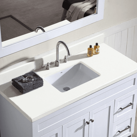 "Image of Ariel Hamlet 49"" Single Sink Vanity Set with White Quartz Countertop in White F049S-WQ-WHT"