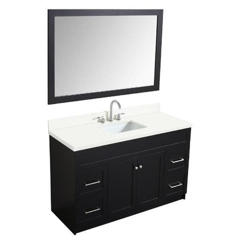 "Ariel Hamlet 55"" Black Modern Single Sink Vanity Set F055S-WQ-BLK"