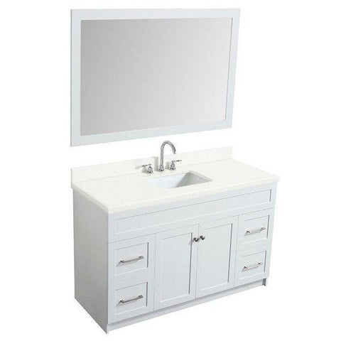 "Ariel Hamlet 55"" White Modern Single Sink Vanity Set F055S-WQ-WHT"