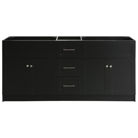 "Ariel Hamlet 73"" Black Modern Single Sink Bathroom Vanity Base Cabinet F073D-BC-BLK F055S-BC-BLK"