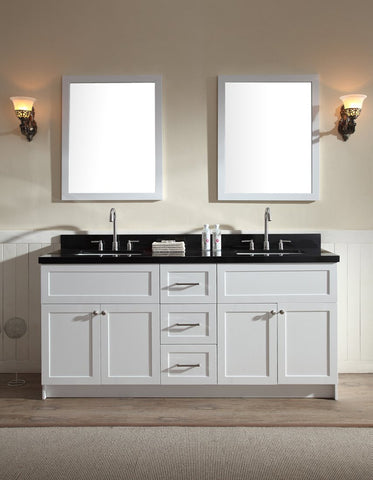 "Image of Ariel Hamlet 73"" Double Sink Vanity Set with Absolute Black Granite Countertop in White F073D-AB-WHT"