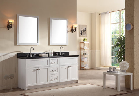 "Ariel Hamlet 73"" Double Sink Vanity Set with Absolute Black Granite Countertop in White F073D-AB-WHT"