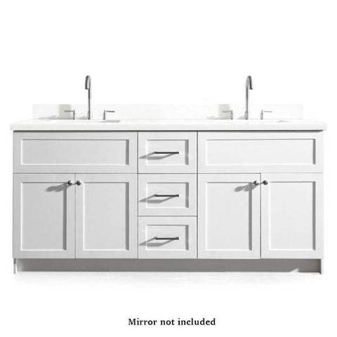 "Ariel Hamlet 73"" Double Sink Vanity Set with White Quartz Countertop in White F073D-WQ-VO-WHT"