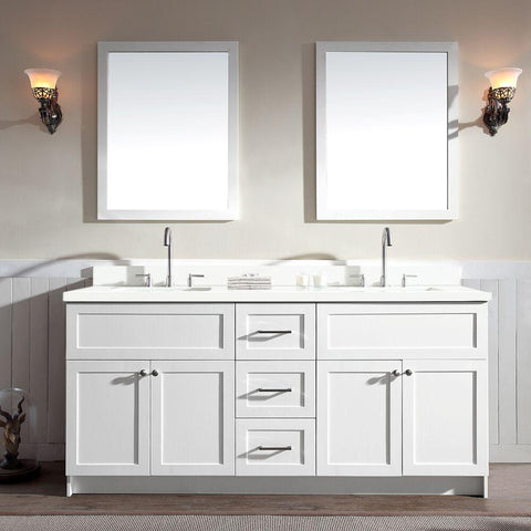 "Ariel Hamlet 73"" Double Sink Vanity Set with White Quartz Countertop in White F073D-WQ-WHT"