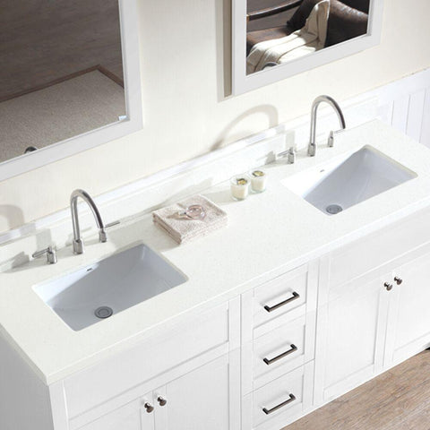 "Image of Ariel Hamlet 73"" Double Sink Vanity Set with White Quartz Countertop in White F073D-WQ-WHT"