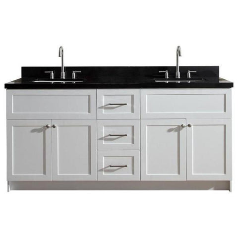 "Image of Ariel Hamlet 73"" White Modern Double Sink Vanity Set w/ Black Granite Countertop F073D-AB-WHT F073D-AB-VO-WHT"