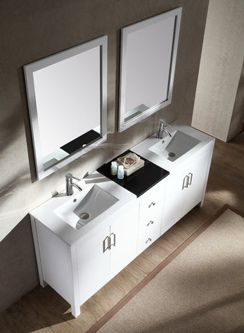 "Ariel Hanson 72"" Double Sink Vanity Set in White K072D-WHT"