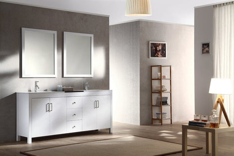"Image of Ariel Hanson 72"" Double Sink Vanity Set in White K072D-WHT"