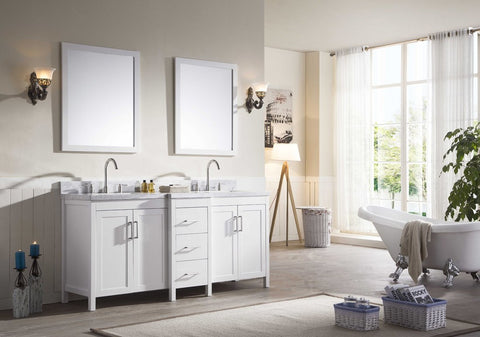 "Image of Ariel Hollandale 73"" Double Sink Vanity Set in White E073D-WHT"