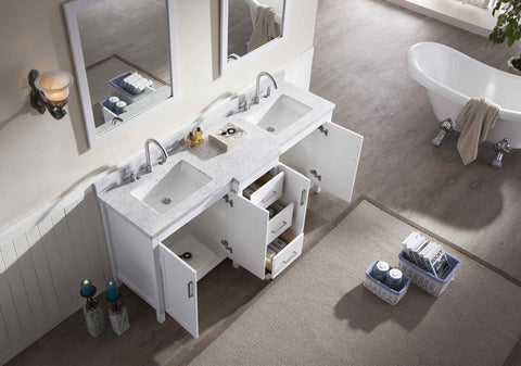 "Ariel Hollandale 73"" Double Sink Vanity Set in White E073D-WHT"