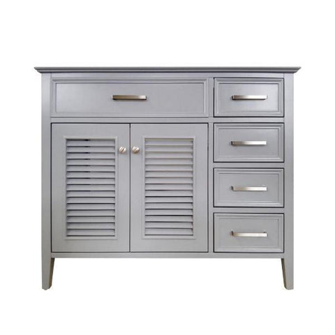 "Ariel Kensington 42"" Grey Transitional Single Sink Base Cabinet D043S-L-BC-GRY"