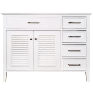 "Ariel Kensington 42"" White Transitional Single Sink Base Cabinet D043S-L-BC-WHT"