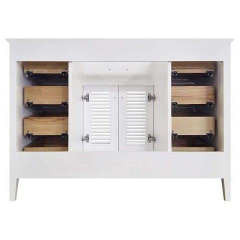 "Ariel Kensington 48"" White Transitional Single Sink Base Cabinet D049S-BC-WHT D049S-BC-WHT"