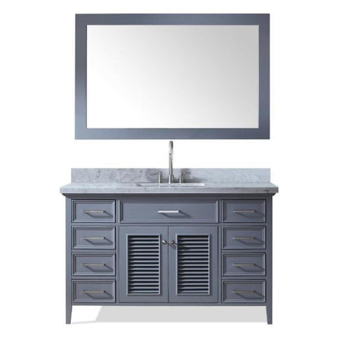"Ariel Kensington 55"" Grey Traditional Single Sink Bathroom Vanity D055S-GRY"