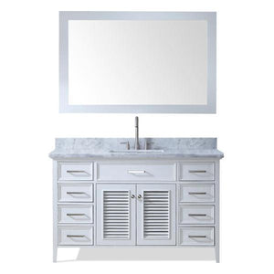 "Ariel Kensington 55"" White Traditional Single Sink Bathroom Vanity D055S-WHT"