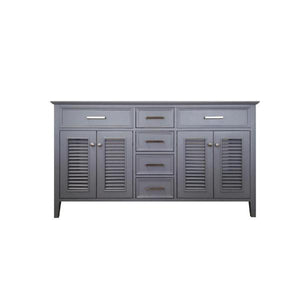 "Ariel Kensington 60"" Grey Transitional Double Sink Base Cabinet D061D-BC-GRY D061D-BC-ESP"