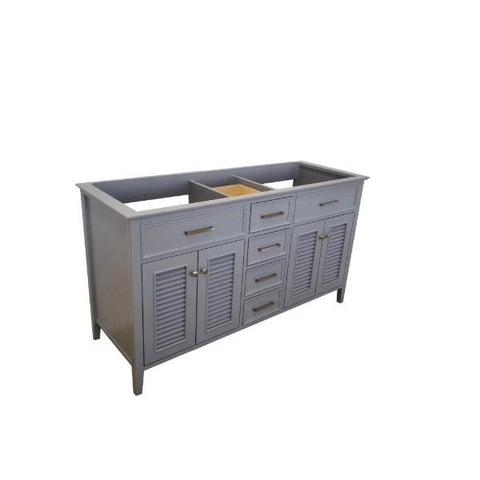 "Ariel Kensington 60"" Grey Transitional Double Sink Base Cabinet D061D-BC-GRY D061D-BC-GRY"