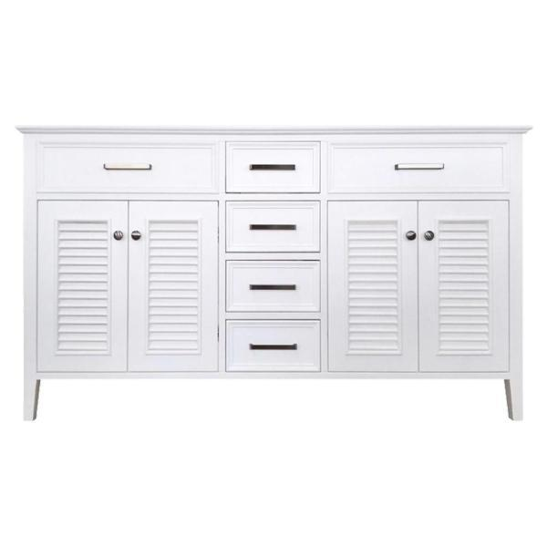 "Ariel Kensington 60"" White Transitional Double Sink Base Cabinet D061D-BC-WHT D061D-BC-GRY"