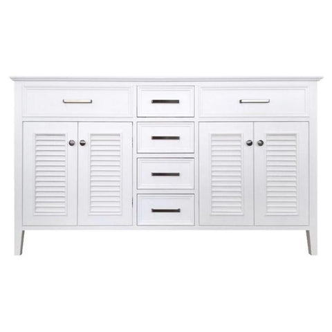 "Image of Ariel Kensington 60"" White Transitional Double Sink Base Cabinet D061D-BC-WHT D061D-BC-GRY"