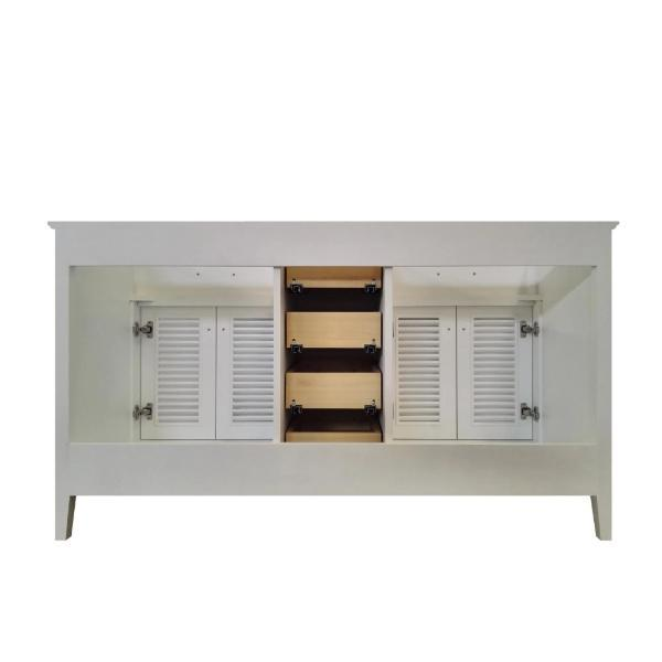 "Ariel Kensington 60"" White Transitional Double Sink Base Cabinet D061D-BC-WHT D061D-BC-WHT"