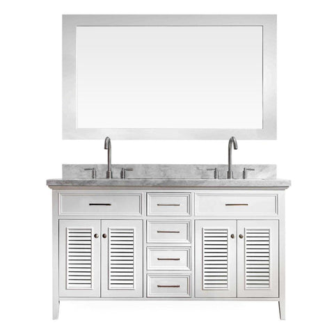 "Image of Ariel Kensington 61"" Double Sink Vanity Set in White D061D-WHT"