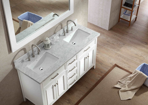 "Ariel Kensington 61"" Double Sink Vanity Set in White D061D-WHT"