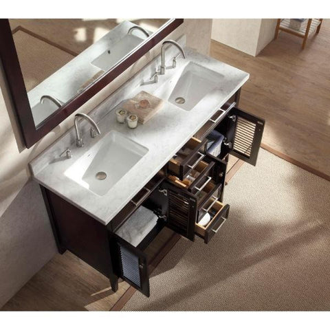 "Image of Ariel Kensington 61"" Espresso Traditional Double Sink Bathroom Vanity D061D-ESP"
